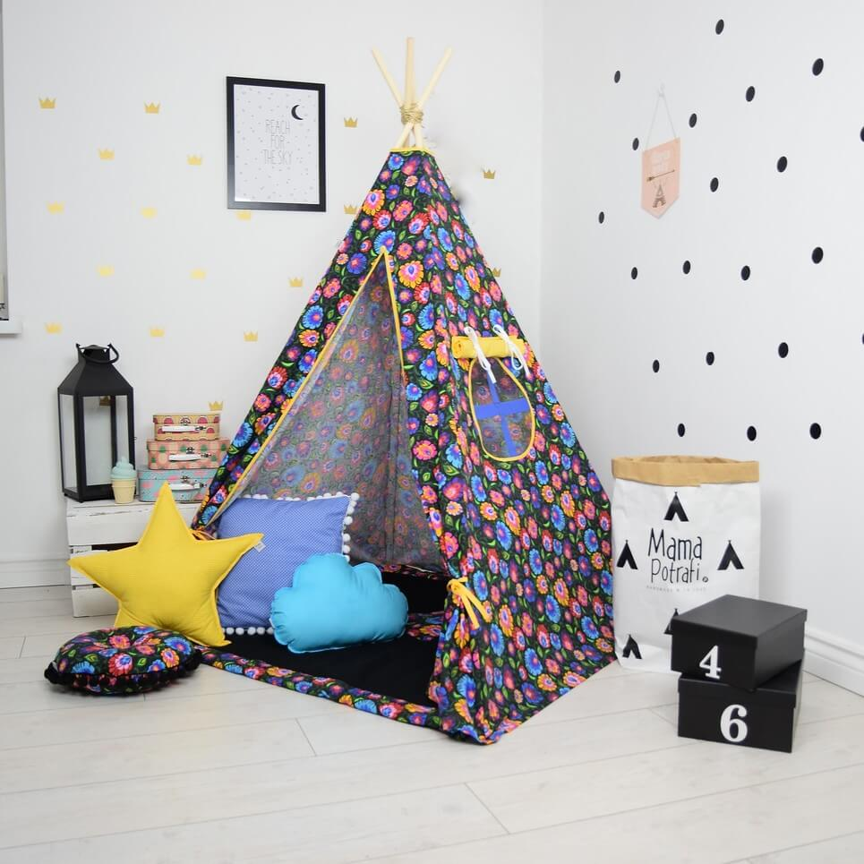 MSGFFK023 u2013 Folk Love Black Childrenu0027s Teepee Tent  sc 1 st  Handmade Gift Ideas and Personalised Gifts | A Matter of Style & FOLK LOVE BLACK CHILDRENu0027S TEEPEE TENT | Decorative Kidsu0027 Play Tents ...