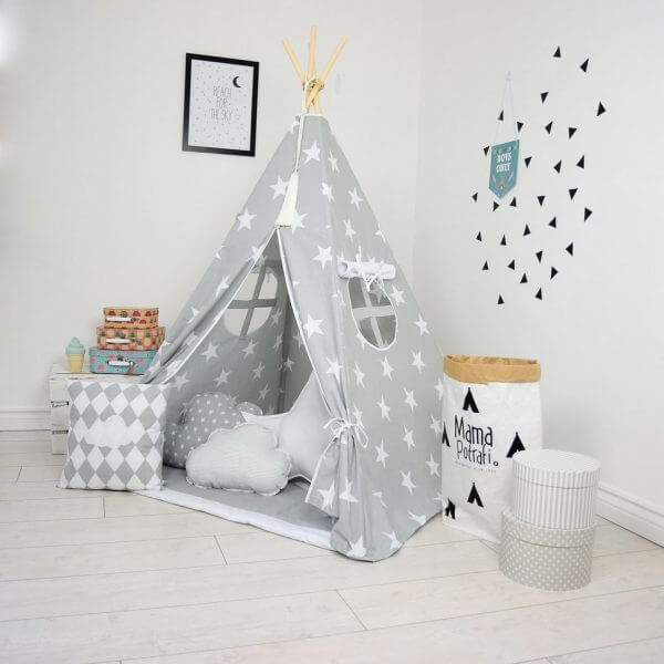 GREY DAY CHILDREN\'S TEEPEE TENT | Decorative Kids\' Play Tents by A ...