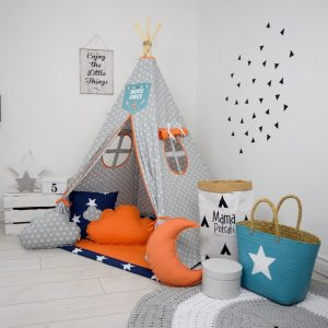 Add the perfect touch to your child's room with the Orange Candy Children's Teepee Tent. Let your little enjoy their own teepee for hours of play time and imagination.