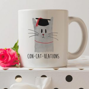 Sip your favourite tea or coffee with the Congratulations Cat Graduation Coffee Mug that makes a fantastic present or a little treat for yourself.