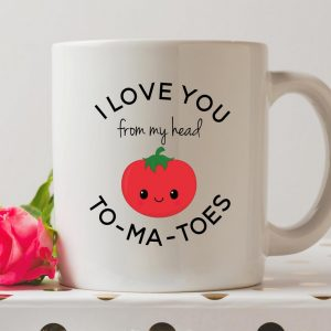 Sip your favourite tea or coffee with the I Love You From My Head To-Ma-Toes Coffee Mug that makes a fantastic present or a little treat for yourself.