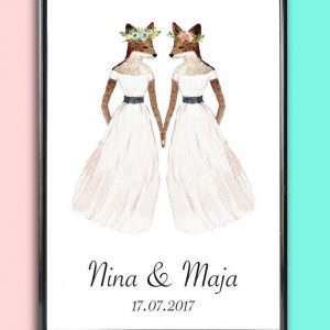 Add some effortless style to your home with the Personalised Wedding Print - Fox Women that will compliment your interior décor.