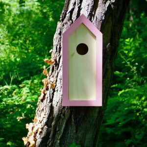 A stylish feeding haven, the Wooden Birdhouse Emma Pinky is a great bird feeder in a quirky design that will look great when hung in the garden.