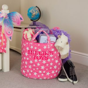 A practical home accessory for a child's bedroom, the Pink Star Toy Storage Basket is the perfect storage solution for keeping those runaway toys, books, shoes or laundry at bay.