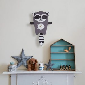 A great gift and a lovely addition to any nursery or bedroom, the Rocco The Raccoon Pendulum Wall Clock is a great way of helping children learn to tell the time whilst offering a stunning wall decoration.