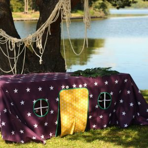 Perfect for any gathering whether it be an early morning breakfast, casual brunch or special occasion, the West Star Tablecloth Playhouse will seduce the youngest and stimulate storytelling and adventure.