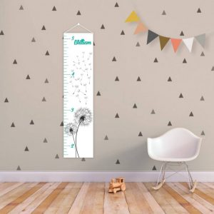 A perfect way to keep track of your little one's growth, the Dandelion Personalised Baby Growth Chart will brighten up any child's bedroom as well as provide a fun way to measure height.
