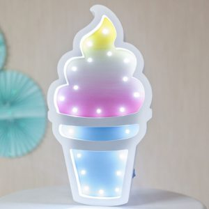 Perfect for setting a calm moon in your kid's bedroom, the Ice Cream Decorative Night Light gives a soft glow when turned on.