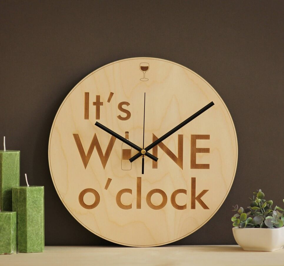 Its Wine Oclock Wooden Wall Clock Unusual Wall Clocks By A
