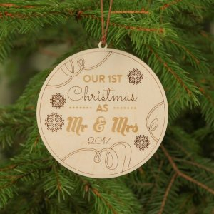 Suitable to be used year after year, the Round Mr & Mrs Christmas - Personalised Christmas Ornament will be a unique and beautiful gift for your loved ones.