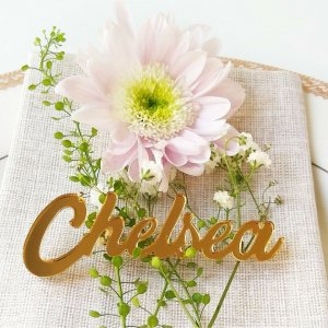 A fun alternative to the traditional place card setting, the Gold Mirror Wedding Place Card is a truly whimsical finishing touch your guests will love.