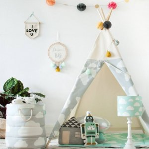 The perfect setting for imaginative play, the Grey Clouds Children's Teepee is as good to look at as to play in. It can easily be used inside your home or in the garden as well as on the terrace.