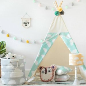 The perfect setting for imaginative play, the Mint Clouds Children's Teepee is as good to look at as to play in. It can easily be used inside your home or in the garden as well as on the terrace.