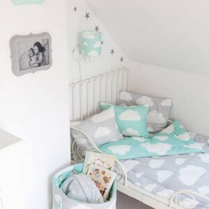 Give your little one's room the 'wow' factor with the Mint & Grey Clouds Children's Bedding Set. A reversible single duvet cover that makes every bedtime adventure children can't wait to begin.