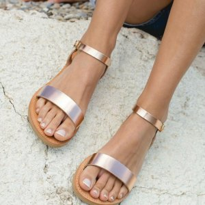 Just what every summer wardrobe needs, the Aphrodite Rose Gold Greek Leather Sandal is every woman's dream pair, super comfy and elegant, and easily combined with any outfit.