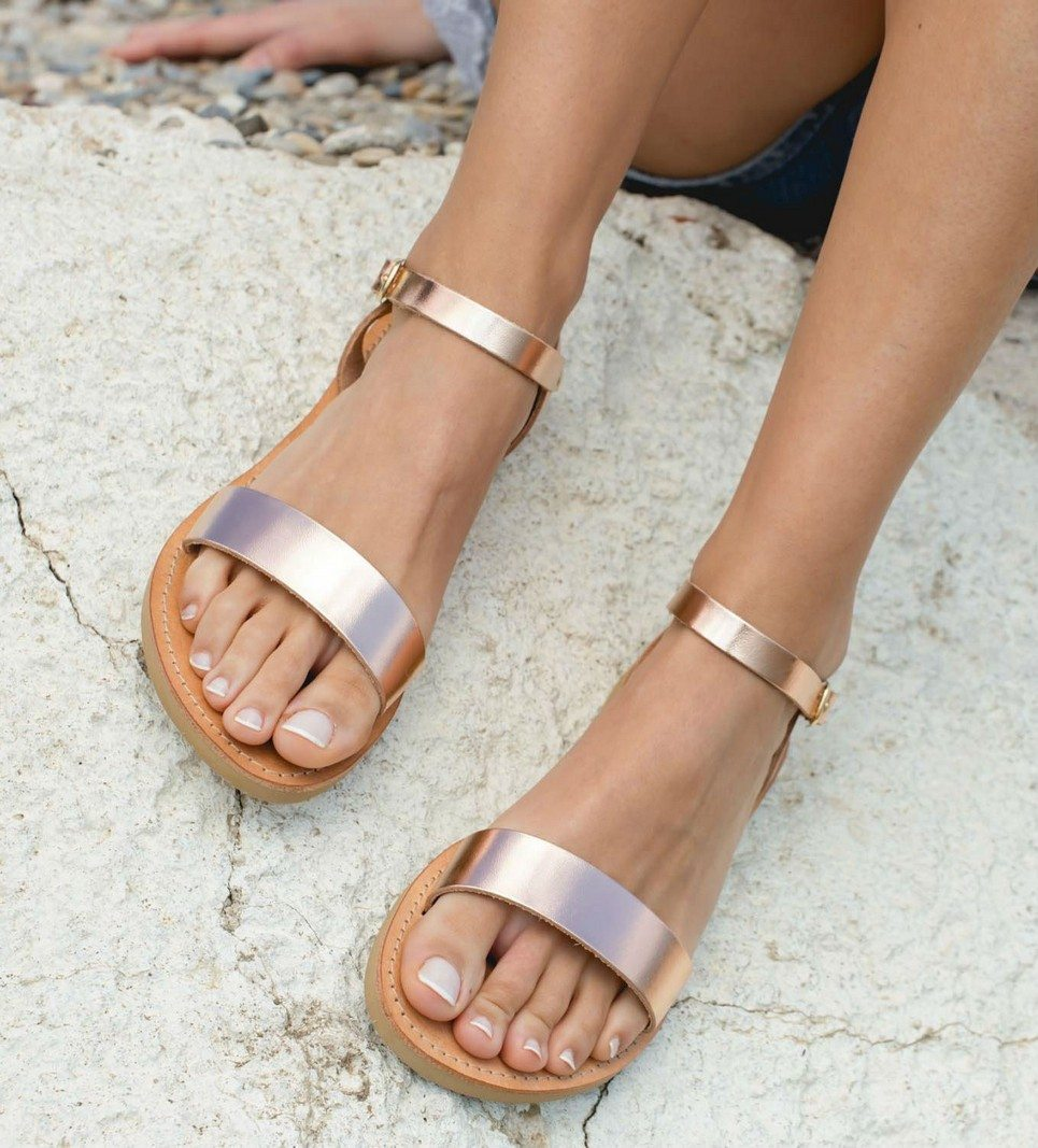 357f23011 Aphrodite Rose Gold Greek Leather Sandal – 5