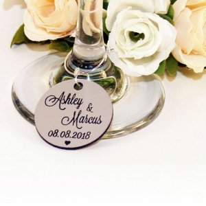 A great name tag which doubles up as a keepsake reminding them of your special day, the Personalised Silver Round Wedding Wine Charm will ensure that your guests know which drink belongs to them!