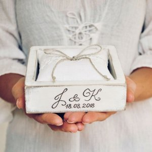 A perfect place to store your rings safely, the Personalised White Wedding Ring Box would make your wedding day unique to you.
