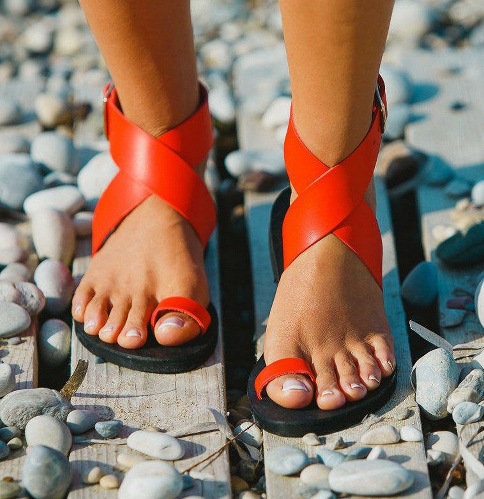 f63e92cfc36d6 Dione Coral Red Greek Leather Sandal