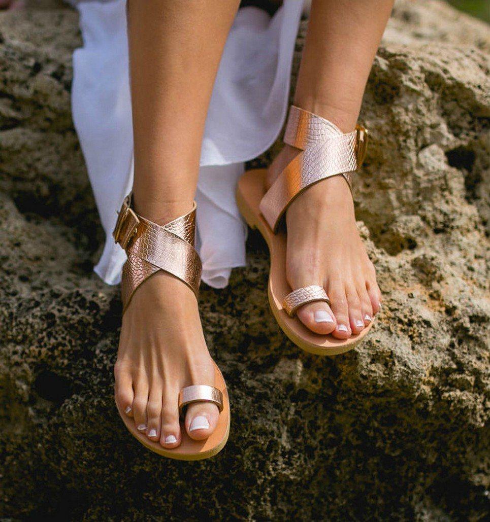 438ec51c97ffe Dione Snake Rose Gold Greek Leather Sandal
