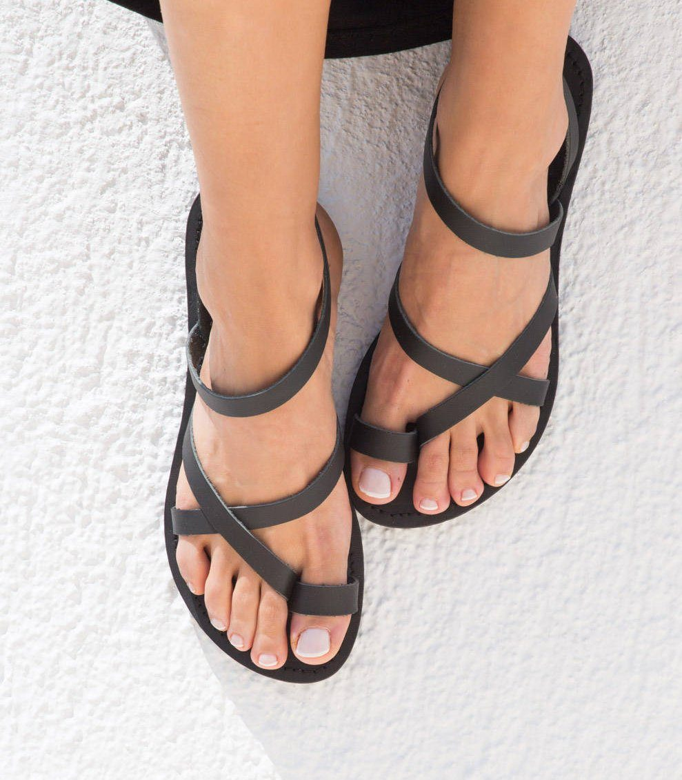 f3c9b611162 KLEIO BLACK GREEK LEATHER SANDAL