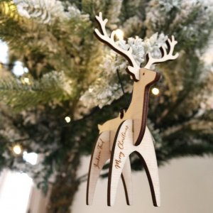 A family treasure to be displayed year after year, the Personalised Reindeer Christmas Bauble makes a thoughtful gift and adds a personal touch to any Christmas tree to celebrate Baby's First Christmas.