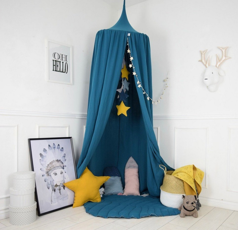 BALDACHIN PETROL TURQUOISE CHILDREN\'S BED CANOPY | Unique Bed ...