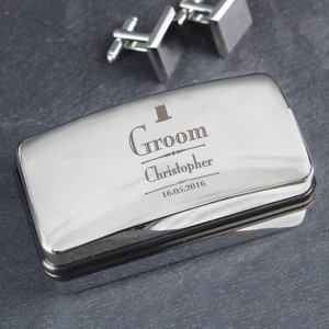 A timeless accessory for the modern man, the Personalised Groom Decorative Cufflink Box makes a perfect gift for weddings, anniversaries, or as a self-purchase item. Emboss your message to create a bespoke present.