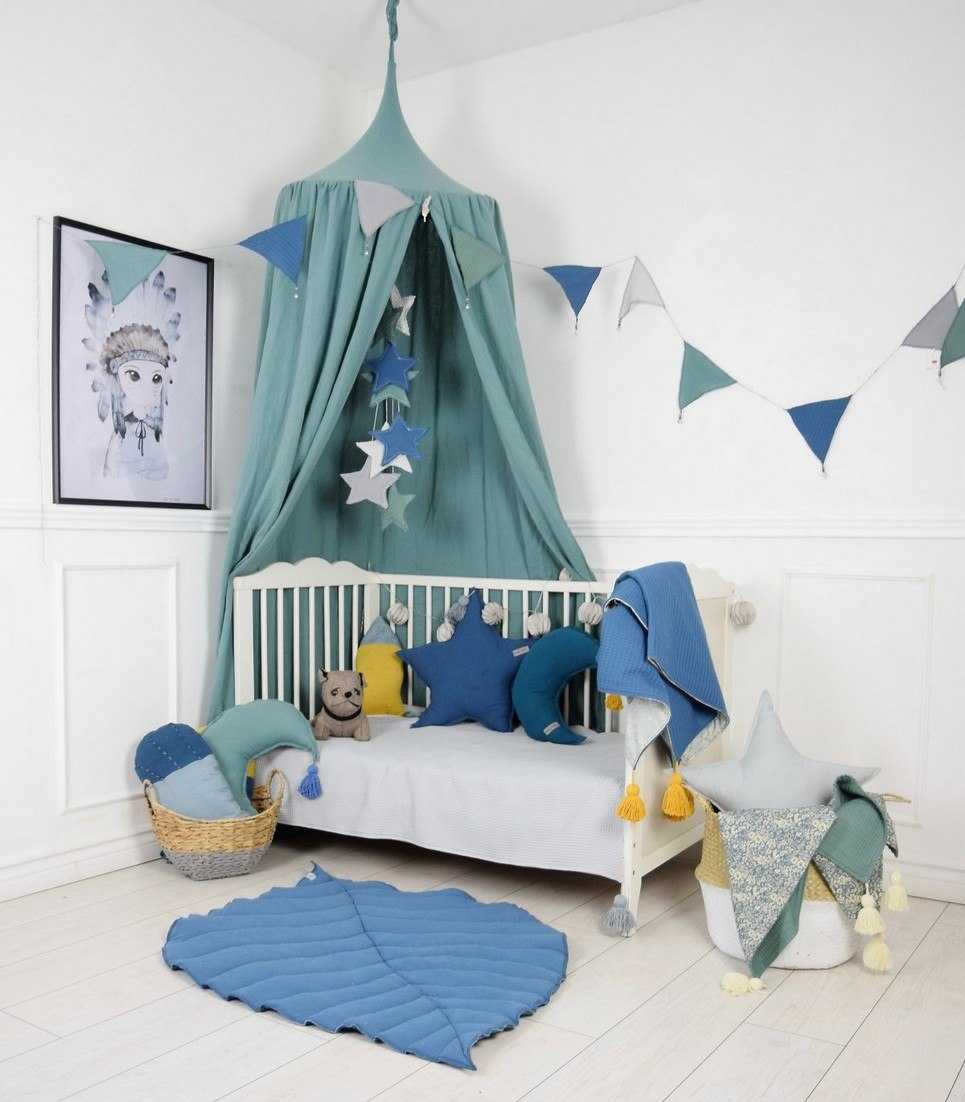 Delightful Upgrades 25 Creative Bedside Lighting Ideas: BALDACHIN SAGE GREEN CHILDREN'S BED CANOPY