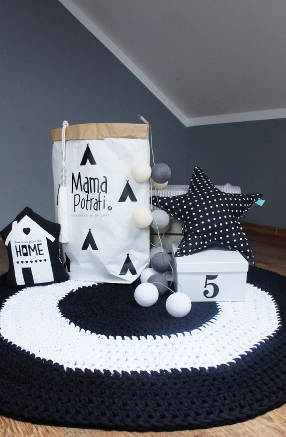 Black And White Children Crochet Rug