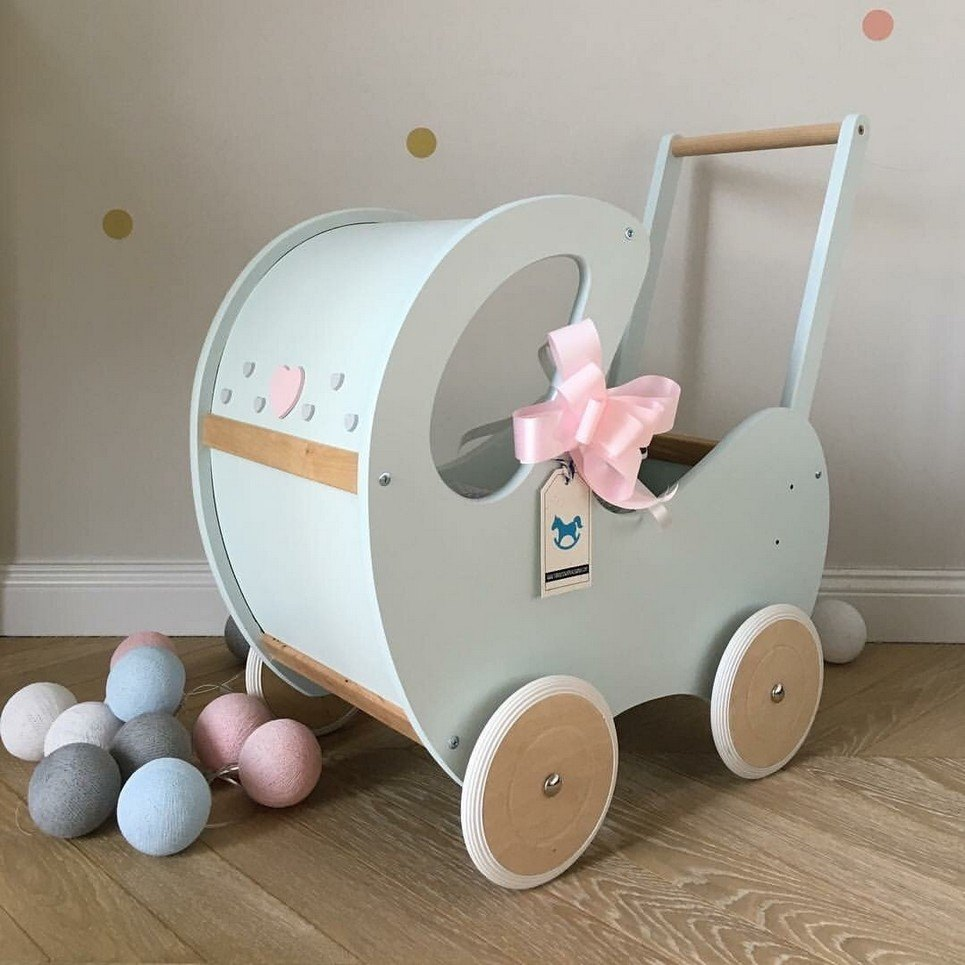 Wooden toy Doll's Wooden Pram Naturale